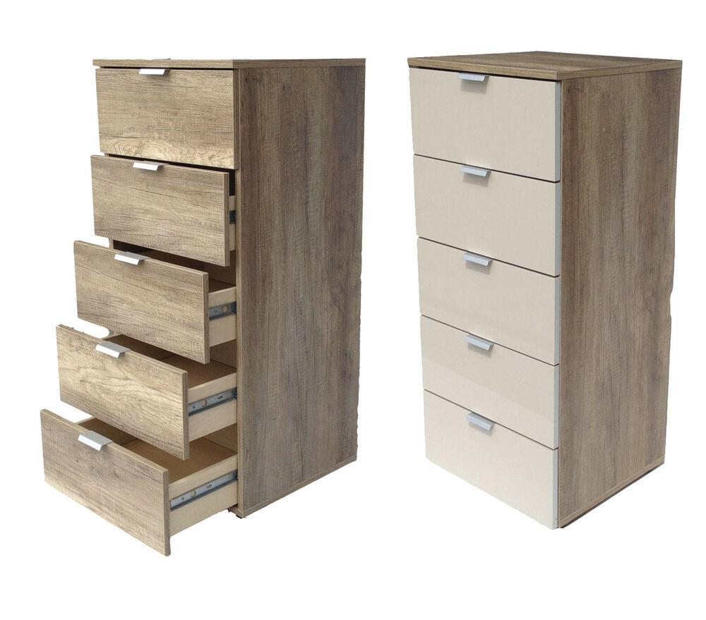 Highboard Küche Schmal Kommode Highboard Flurkommode 5 Schubladen Wildeiche Sand