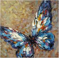 Blue Butterfly - Hand Painted Modern Impressionist Oil ...