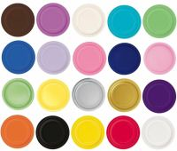 "Packs of 20 Solid Colour 7"" Round Paper Plates - Party ..."