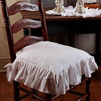 New French Country Shabby Chic WHITE RUFFLED CHAIR PAD ...