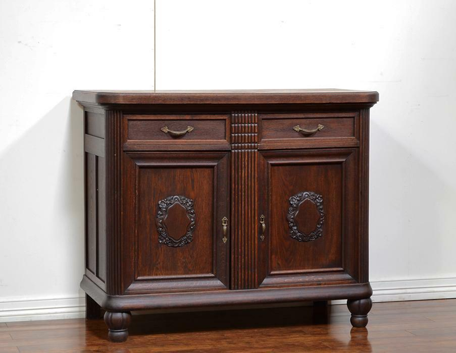 55249 Dark Oak German Antique Server Sideboard Cabinet - Sideboard Ebay