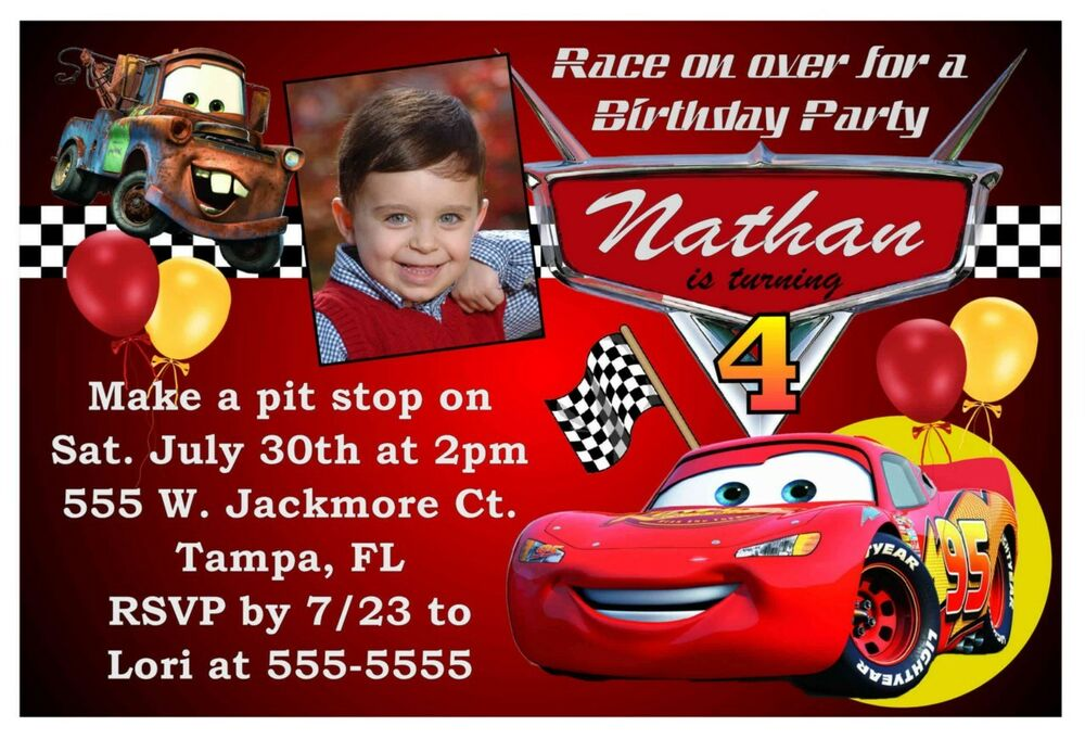 Disney Cars Birthday Party Invitations Ebay