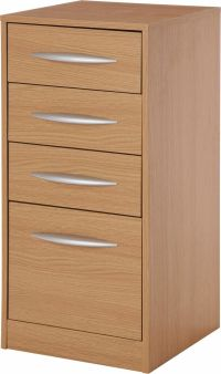 Wooden 4 Drawer Filing Cabinet - Oak Effect.From the ...