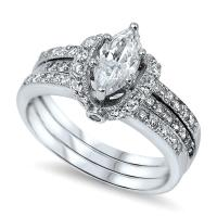 Sterling Silver Women's Pave CZ Wrapped Marquise Cut ...