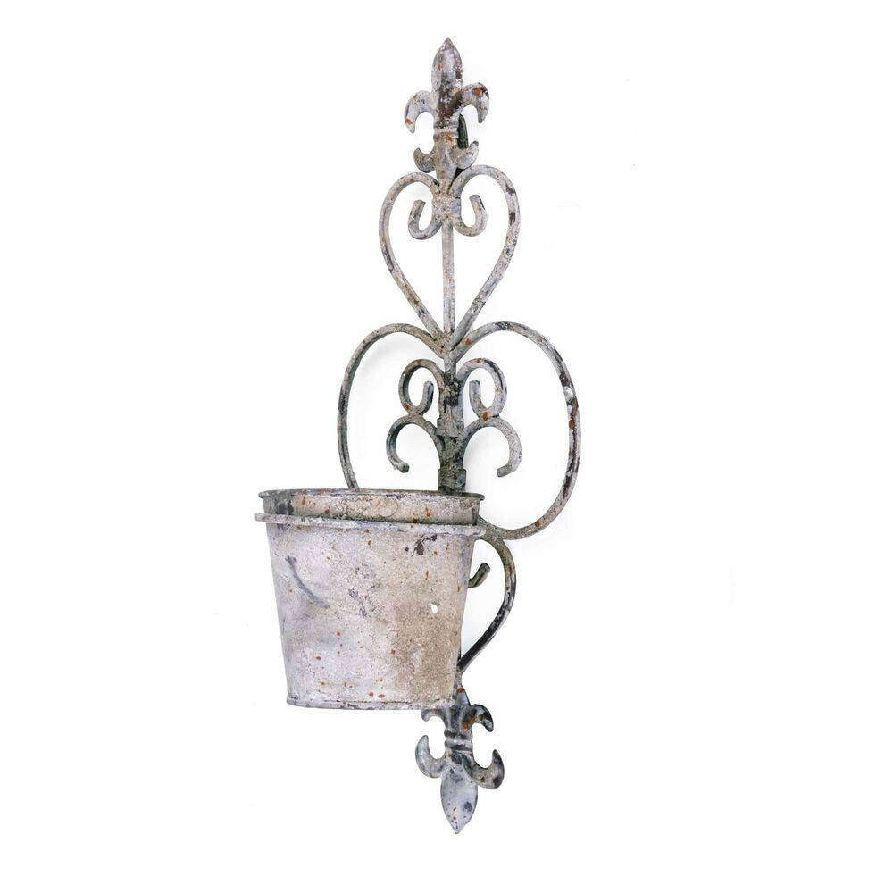Planter Lys En Pot Fleur De Lys Aged Rustic Finish Metal Wall Mounted Single Pot Garden Planter Ebay