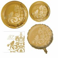 GOLDEN 50TH WEDDING ANNIVERSARY Tableware (Plates/Napkins ...