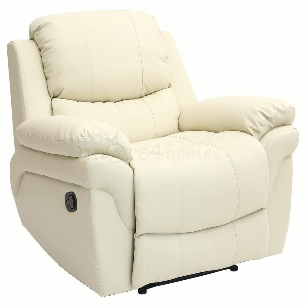 Ebay Sofas Madison Cream Real Leather Recliner Armchair Sofa Home