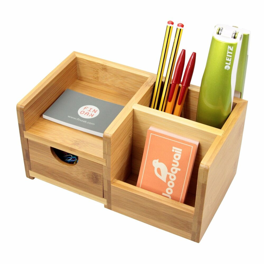 Bamboo Desk Organiser Pen Holder With Drawer Desk Tidy