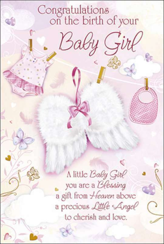 Baby Girl Birth Congratulations Card - Angel wings God Bless Baby - Birth Of Baby Girl