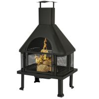 BCP Firehouse Fire Pit With Chimney Outdoor Backyard Deck ...