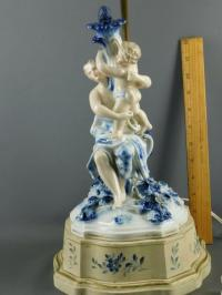 ANTIQUE GERMAN PORCELAIN BLUE & WHITE FIGURAL CHERUB ROSES ...