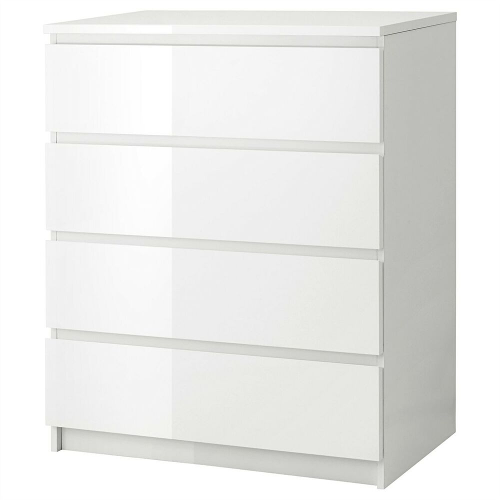 Kommode Kullen Ikea Malm Chest Of 4 Drawers 80x100cm White High Gloss