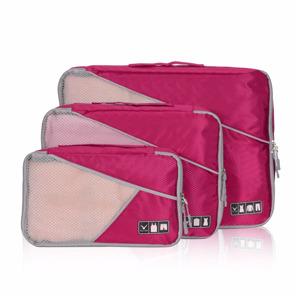 Packing Cells 3 Piece Set Packing Cubes Travel Luggage Packing Cells Organizers