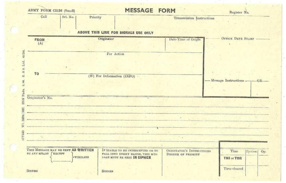 ARMY FORM MESSAGE FORM C2136 UNUSED JUNE 1944 eBay