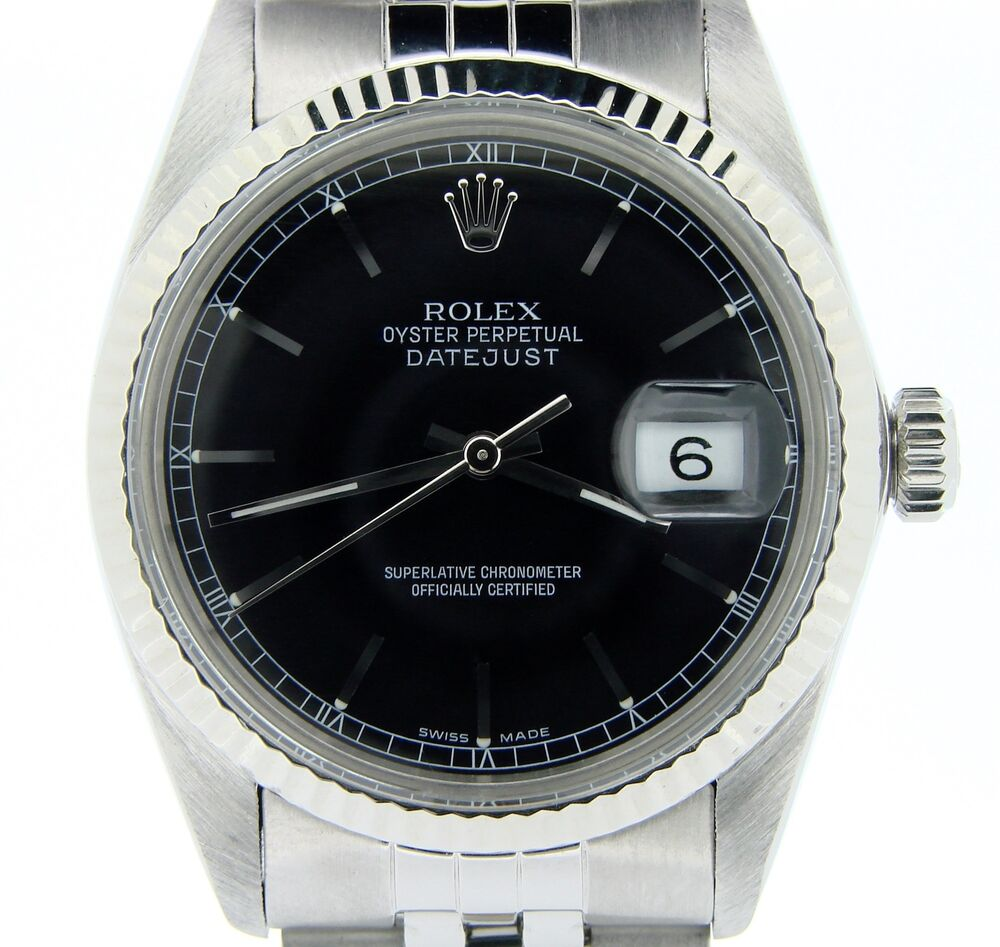 Steel Rolex Mens Rolex Datejust Stainless Steel Watch 18k White Gold Bezel Black Dial 16014 Ebay
