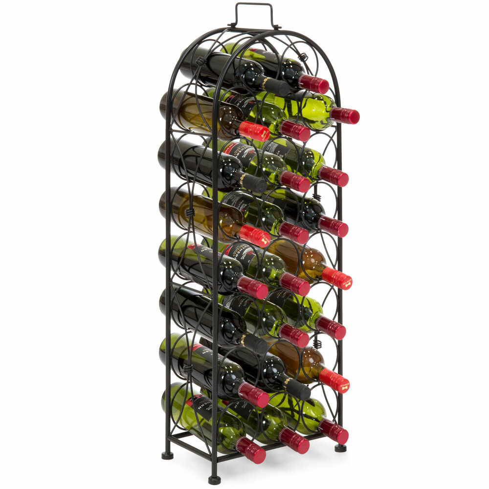 Metal Wine Storage Racks Tall Free Standing Black 23 Bottle Metal Wine Storage Rack Stand Portable Handle Ebay