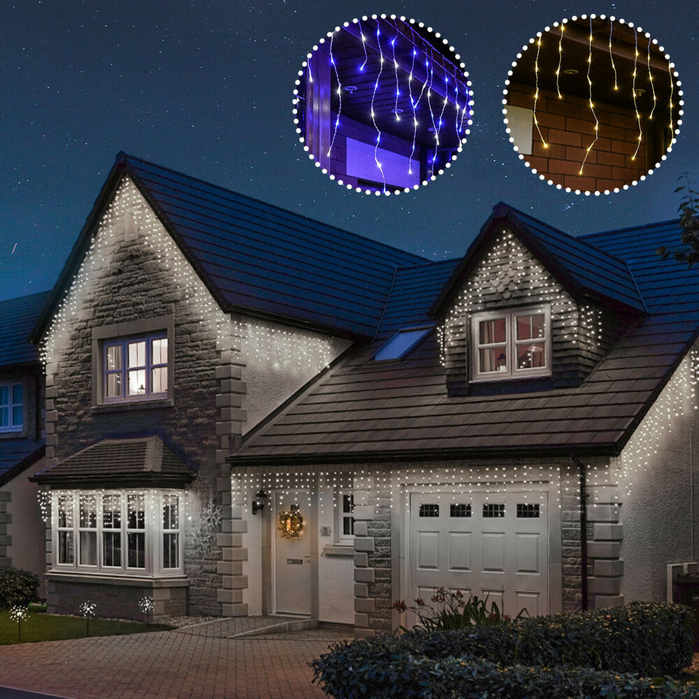 Decoration De Maison Pour Noel Connectgo Connectable Outdoor Led Icicle Lights Christmas Garden Home Decor Ebay