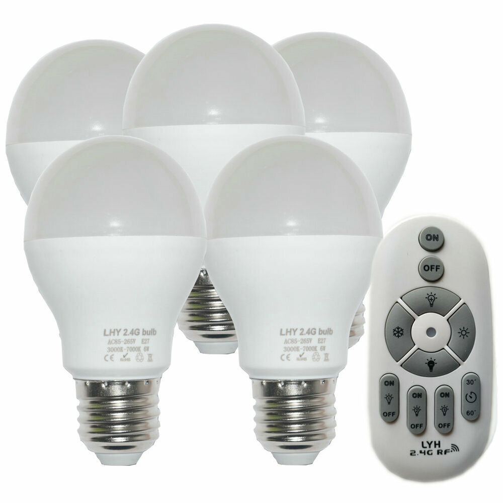 Led E27 6w E27 Smart Led Light Bulbs Dimmable With 2 4ghz Wireless 4 Zone Remote Control Ebay