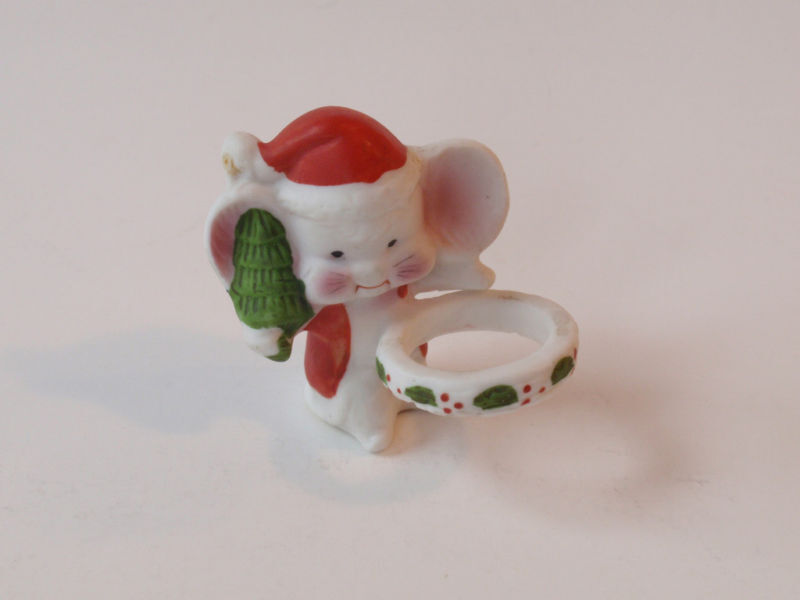 Vintage Porcelain Tiny Christmas Mouse Christmas Taper