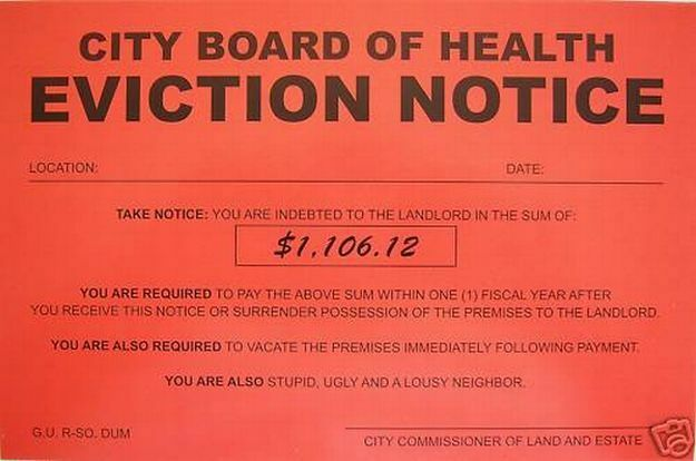 Humiliating Prank Sign BOARD OF HEALTH EVICTION NOTICE eBay