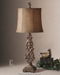 Tuscan Buffet Lamp Distress Antique Light Brown Finish | eBay