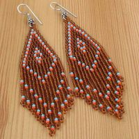 BROWN BLUE RED SEED BEADED EARRINGS HANDMADE WHOLESALE | eBay