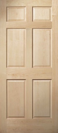 6 Panel Clear Maple Traditional Raised Panel Solid Core ...