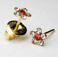 Clear Crystal Daisy Red Center Gold Stud Ear Piercing ...
