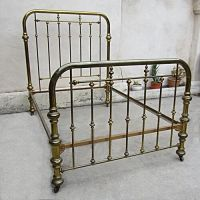 Vintage Brass Bed Two Inch Tubing on Casters Size Full ...