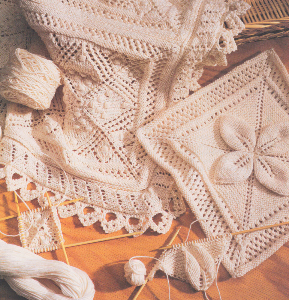 Baby Pram Blanket Knitting Patterns Cotton Lace Or Leaf Squares Edging Bedspread Cushion Or
