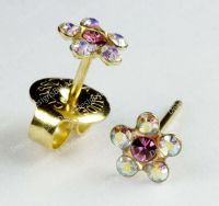 Ear Piercing Earrings Gold Studs Rainbow Crystal Daisy ...