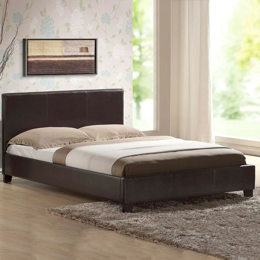 Double Mattress Leather Bed-double King-black-brown-white With Memory Foam