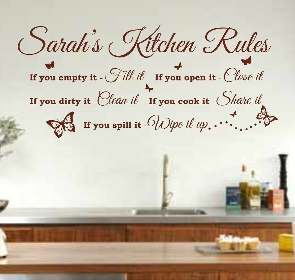 Dirty Harry Quotes Wallpaper Personalised Kitchen Rules Quote Wall Art Sticker Decal