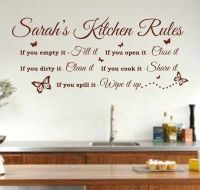 Personalised Kitchen Rules Quote Wall Art Sticker, Decal ...