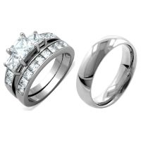 3 PCS Stainless Steel His & Her Engagement/Wedding ...