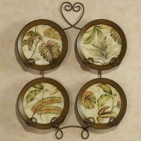 Tropical Palm Leaf Decorative Plates Set of 4 (Rack not