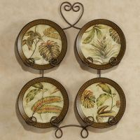 Tropical Palm Leaf Decorative Plates Set of 4 (Rack not ...