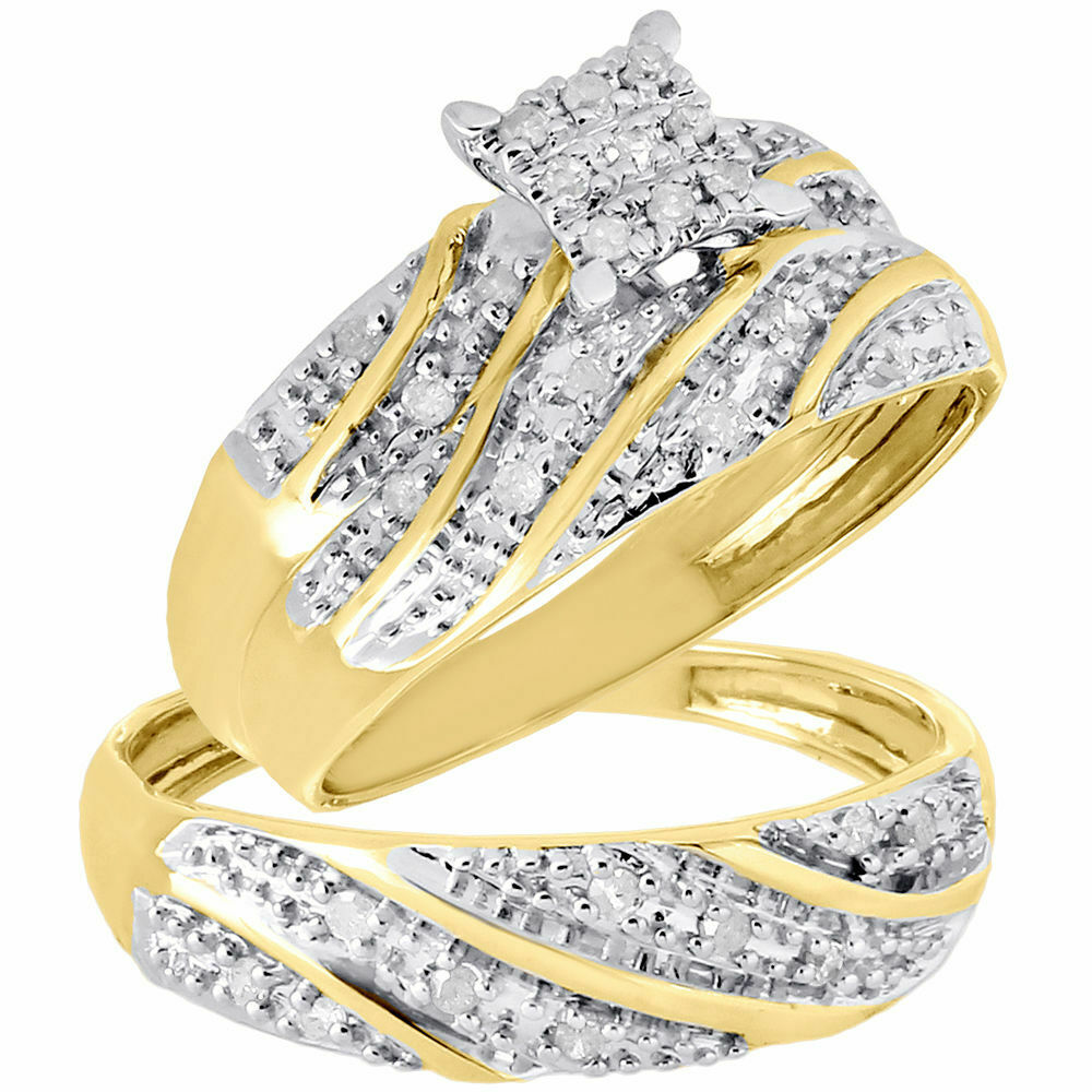 gold wedding ring sets 10K Yellow Gold Diamond Trio Set Matching Engagement Ring Wedding Band 27 Ct eBay