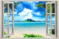 Exotic Beach View 3D Window Decal WALL STICKER Home Decor