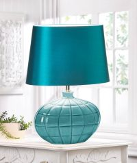 GALLANT TURQUOISE TEAL TABLE LAMP & SILKEN SHADE DECOR NEW ...