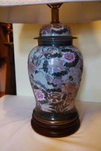 VTG FREDERICK COOPER Gray & Charcoal Oriental Table Lamp ...