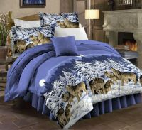 Mountain Cabin Lodge Wolf Wolves Queen Comforter Set (8 ...