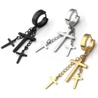 2pc Stainless Steel Cross Dangle Chain Ear Stud Hoop ...