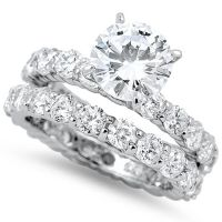 3CT ROUND RUSSIAN CZ Eternity Engagement Ring Wedding Set ...