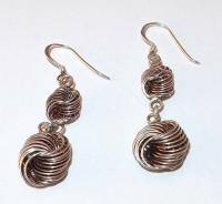 NICE 925 STERLING SILVER 2 TWISTED KNOT DROPS PIERCED ...
