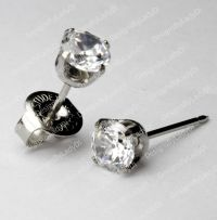 LONG POST 14kt White Gold 5mm Clear CZ Ear Piercing ...