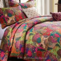 JEWEL RED 3pc King QUILT SET : MOROCCAN BOHO FLORAL TONE ...