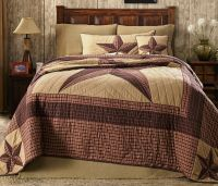 LONE STAR 4pc Queen QUILT SET : COUNTRY WESTERN RUSTIC RED ...