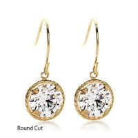 VICTORIA WIECK 2CT ROUND ABSOLUTE 14K GOLD DROP EARRINGS