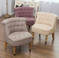 Bedroom Accent Chair Armchair Occasional Button Back Linen ...